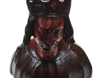 16th C.Magnificient carved Oak Gothic Bust of a French King-Rare