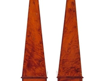 "19th century Pair of Marvelous 22"" Burl Walnut Obelisk-Rare"