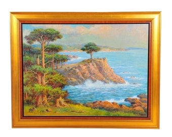 Carmel 1935 Beautiful California Coastline Oil Painting By Andreas Roth