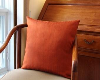"19""X19"" Raw Orange Thai Silk Pillow Cover"