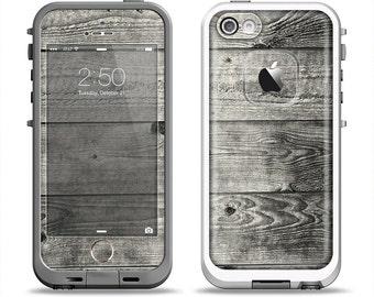 The Dark Washed Wood Planks Apple iPhone LifeProof Case Skin Set