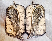 ANGEL WING Designer Dogtag, angels, angel wings, faith, angel wing charm, memorial, angel jewelry, biker, denim, rocker