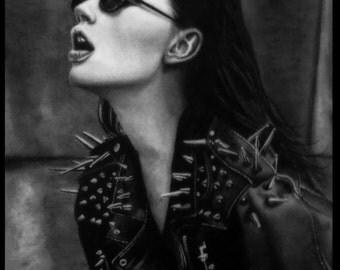 Original Pencil Sketch - Rocker Chic