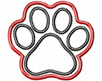 Double Layered Paw Print applique design in satin and raggy  4 sizes INSTANT DOWNLOAD