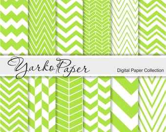 Green Chevron Digital Paper Pack, Chevron Scrapbook Paper, Digital Background, 12 Sheets, Personal And Commercial Use - Instant Download