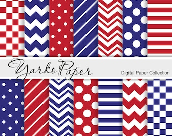 Red And Blue Digital Paper Pack, Chevron, Polka Dot, Stripes, Basic Geometric Paper, Digital Background, 14 Sheets - Instant Download