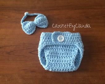 Crochet baby boy diaper cover and bowtie PhotoProp--Made to Order