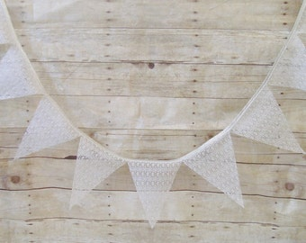 Lace Bunting - Lace Wedding Banner - Wedding Bunting - Rustic - Shabby and Chic - White and Silver - White Lace Garland - Lace Banner