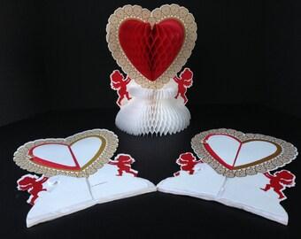 Beistle Valentine's Day Honeycomb Centerpiece, Hearts, Cupids, Valentine Decoration, Wedding Table Decoration
