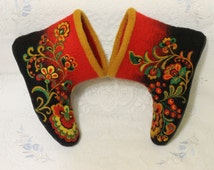 """Handmade Felted House Shoes In Variations """"Khokhloma"""", 100% wool, Russian Painting, Birds, Flowers, Ornament"""