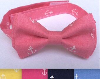 Nautical Bow Tie - Anchor Bow Tie - Summer Tie - Summer Bow Tie - Spring Bow Tie - Spring Wedding - Ringbearer - Pink Bow Tie - Yellow Tie