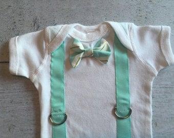 Baby Boy Bowtie Onesie with Suspenders
