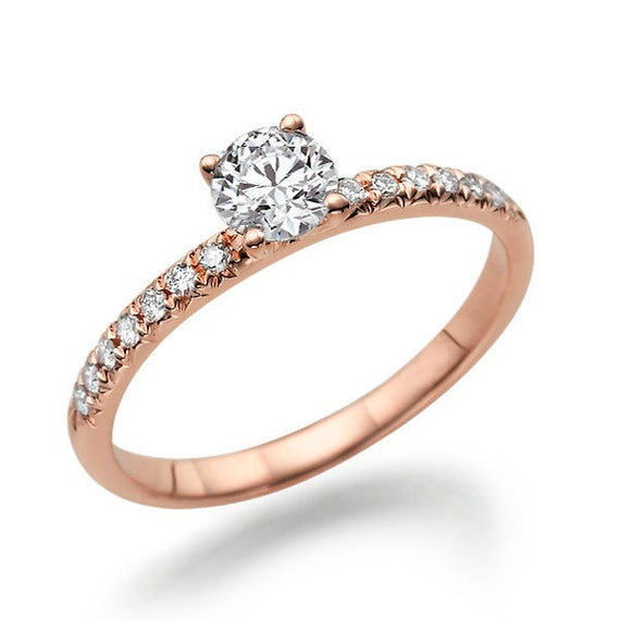 unique moissanite engagement ring 14k gold ring accented
