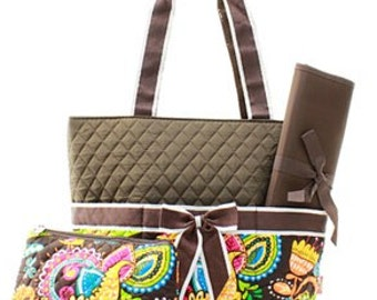 3 Piece Personalized Crocodile Paisley Diaper Bag with Changing Pad And Cosmetic Case