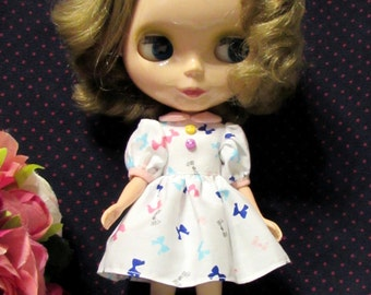 Blythe Outfit Colorful Bow White Dress