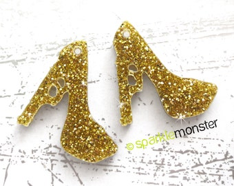 Small Gun High Heel charms - 2 pcs, gold glitter, bling, pistol, laser cut acrylic