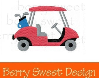 golf cart machine embroidery design instant download