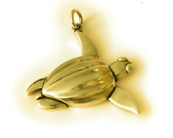 Sea turtle necklace , gold and diamond Leather Back turtle pendant.