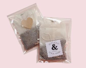 50 Tea favors -  bridal shower favors with scalloped square design
