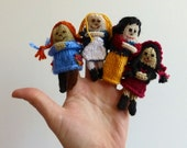 Fairy Tale & Fantasy Finger Puppets, Hand-Knit Miniature Dolls, knitted toys, Set of Five