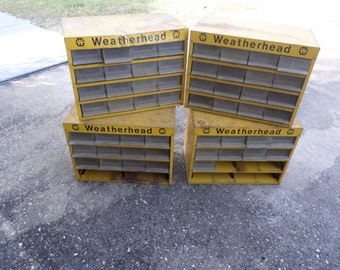 4 Vintage Weatherhead Metal Tool Box / Organizer