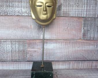 Vintage Brass Mask on Marble Base