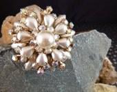 Cathé Vintage Brooch Layered Creamy Silvery White Pearlized Stones with Aurora Borealis Rhinestones Book Piece circa l960s-70s