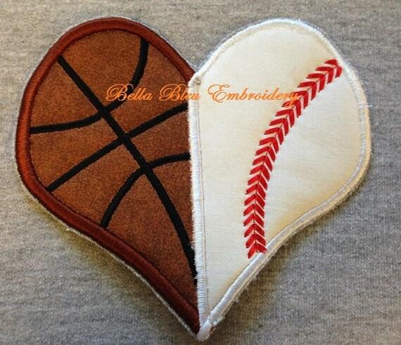 Baseball Softball And Basketball Divided Heart Applique