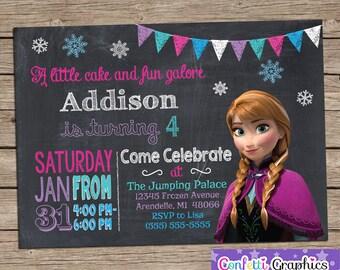 Frozen Birthday Invitation Chalkboard Chalk Girls Cute Anna Colorful Invite Custom Printable Personalized Invite Any Age Baby 1 2 3 4 5 6 7