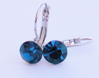 Surgical Steel Sapphire Crystal Leverback Earrings made with Swarovski Crystal Elements-Earrings by LacyCJewellery