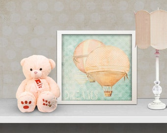 nursery art for childrens, kids decor art print - orange air balloon,