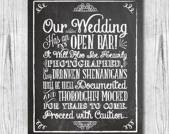 Chalkboard Shenanigans Wedding Sign, Printable Wedding Sign, Chalkboard Open Bar Sign, Shenanigans Sign, Wedding Decor, Instant Download
