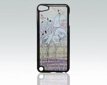 White flamingo iPod Touch 5 case, water and birds iPod Touch 5 cover, art iPod Touch 5 case, romantic, vintage design, unique