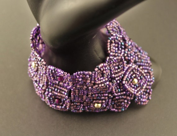 Bracelet...Bead Woven Seed Bead Bracelet.Purple.Block Quilt Style.Silver Centers.Loose Fitting.Japanese Seed Beads