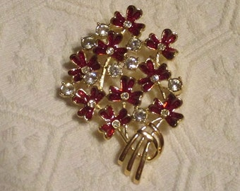 Red and CZ Crystal Flower Pin