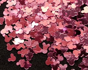 solvent-resistant glitter shapes-pink (metallic) mickeys