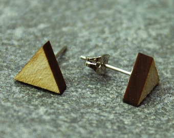 Wooden Triangle Earrings - Small