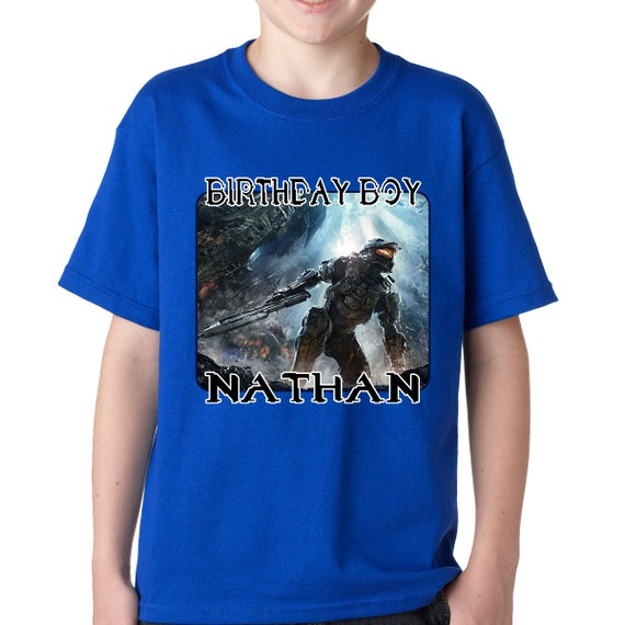 Personalized Halo Master Chief Birthday T Shirt - xbox video game call of duty