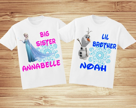 2 Personalized Sister/Brother Frozen t-shirts - Elsa, Anna, Olaf, Sven