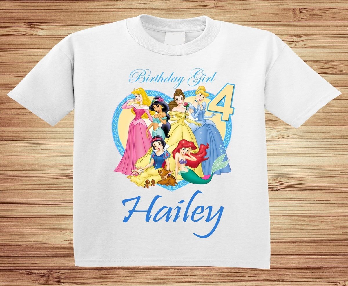 Personalized Disney Princesses Birthday Shirt tshirt custom