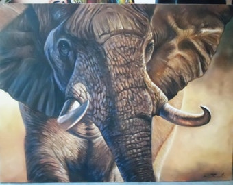 """Elephant painting oil painting on canvas 36""""X48"""""""