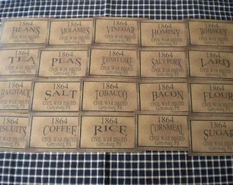 "Set of (20) 3x5"" Civil War Issue Gettysburg Prim Pantry Labels"