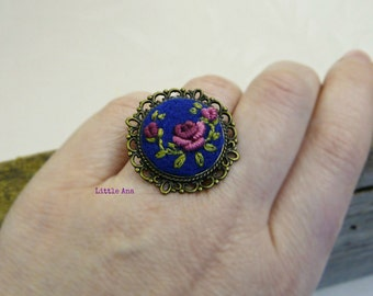 Rose Garden Ring - Medium blue + aubergine/fucsia - felted ring, embroided ring, traditional techniques, handmade jewelry