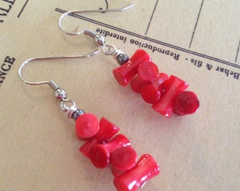 Bamboo Coral Red Earrings. Red River Shell  5x10 Beads. Silver Stainless Steel Earrings. Coral Earrings. Nickel Free