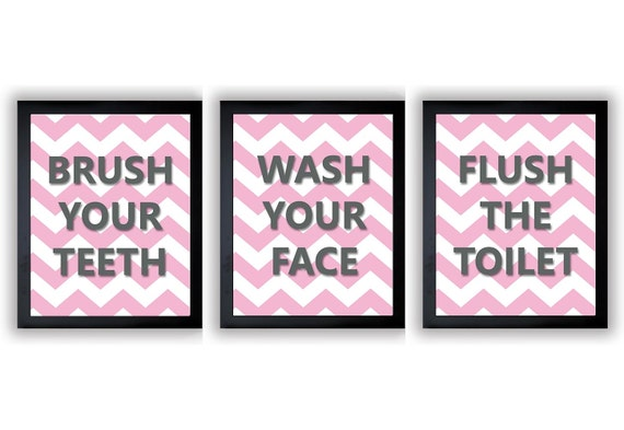 Pink gray grey bathroom decor bathroom print set of 3 chevron for Pink grey bathroom accessories