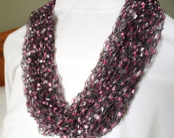 Hand Knit Ladder Yarn Infinity Scarf  ~ Purple Scarf ~ Ribbon Yarn ~ Knit Shawl ~ Knit Cowl  ~ Bulky Scarf ~ Made in the USA
