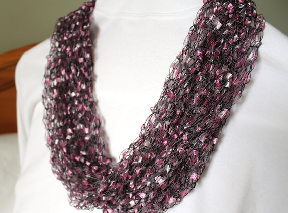 Knitting Pattern Ribbon Yarn Scarf : Hand Knit Ladder Yarn Infinity Scarf Purple Scarf Ribbon