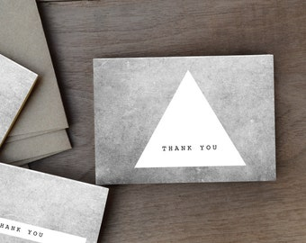Set of 6 rustic geometric thank you cards - Black and white cards - minimal modern thank you cards