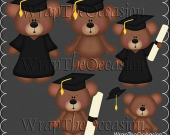 Yellow/Black Graduation Bears Clipart