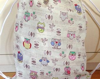Baby backpack, Snac Bag, Owls. Garment bag. Diaper bag. Toddler backpack.